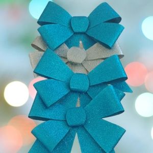 Holiday Bow decorations, silver and blue metallic